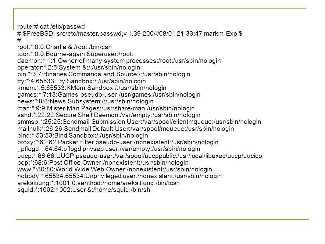 router# cat /etc/passwd