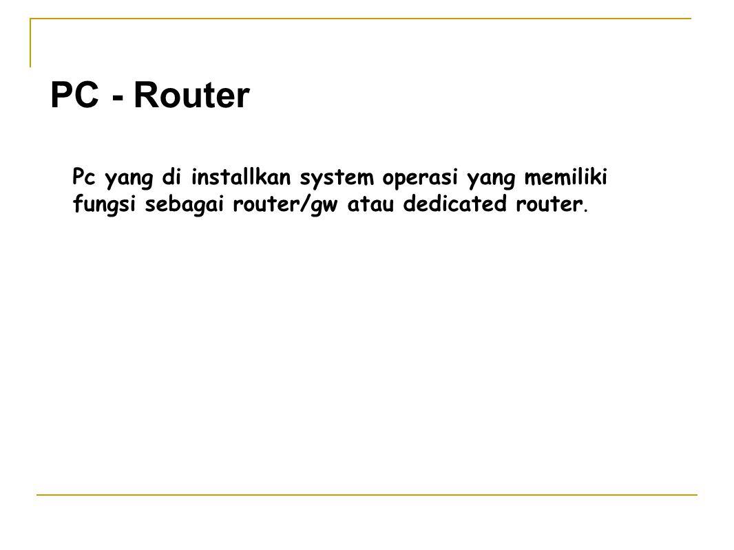 PC - Router Pc yang di installkan system operasi yang memiliki