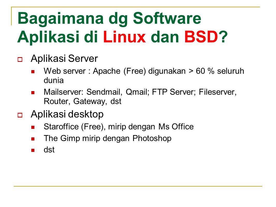 Bagaimana dg Software Aplikasi di Linux dan BSD