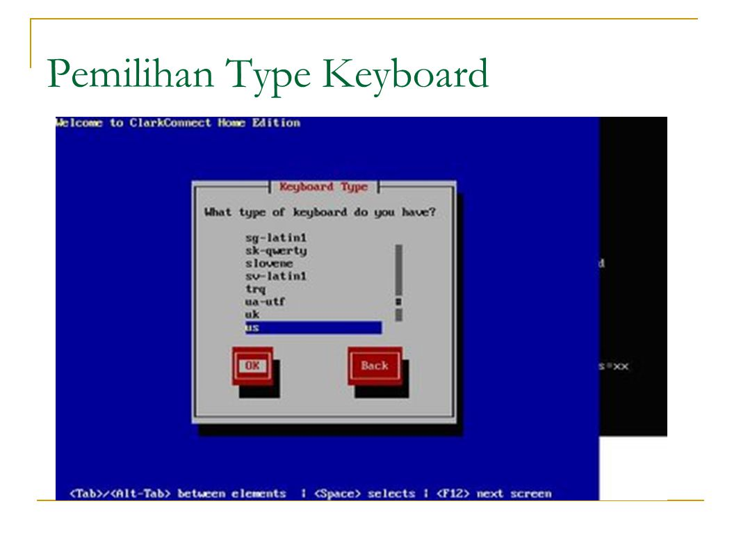 Pemilihan Type Keyboard