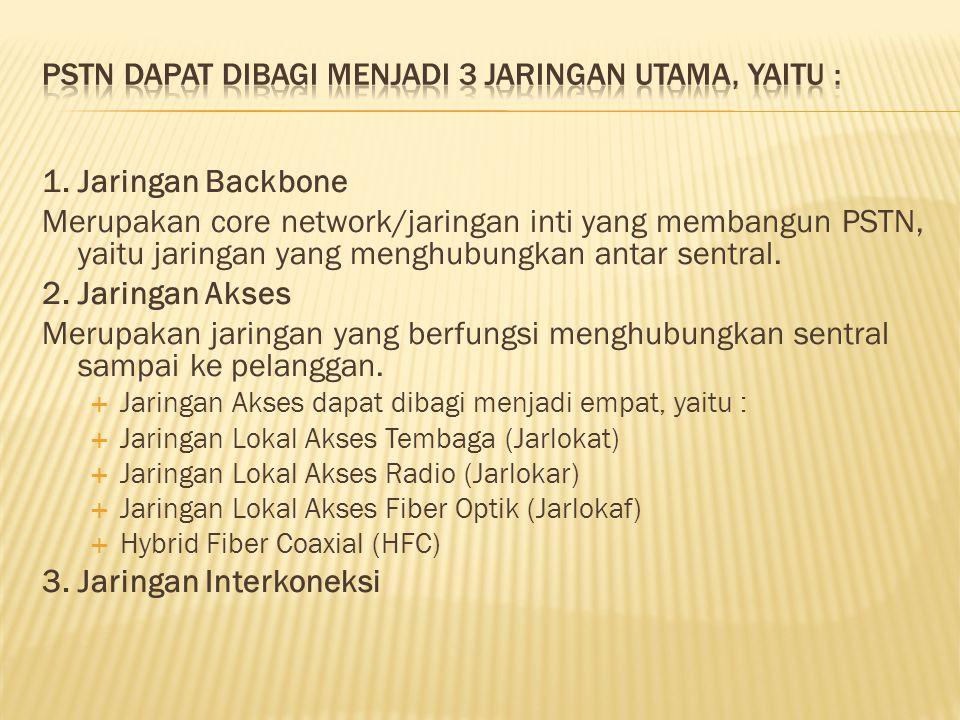 PSTN dapat dibagi menjadi 3 jaringan utama, yaitu :