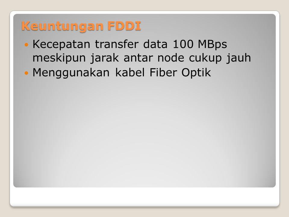 Keuntungan FDDI Kecepatan transfer data 100 MBps meskipun jarak antar node cukup jauh.