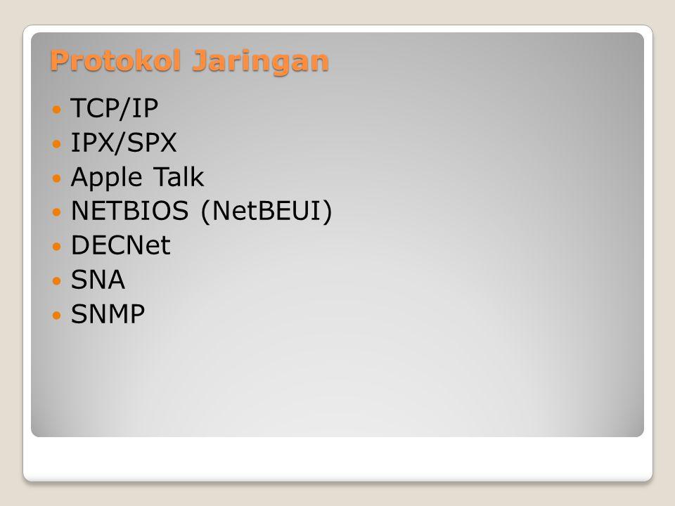 Protokol Jaringan TCP/IP IPX/SPX Apple Talk NETBIOS (NetBEUI) DECNet