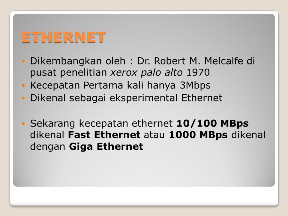 ETHERNET Dikembangkan oleh : Dr. Robert M. Melcalfe di pusat penelitian xerox palo alto 1970. Kecepatan Pertama kali hanya 3Mbps.