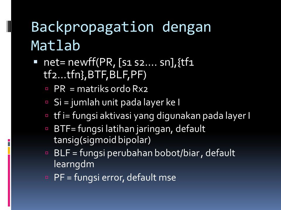 Backpropagation dengan Matlab