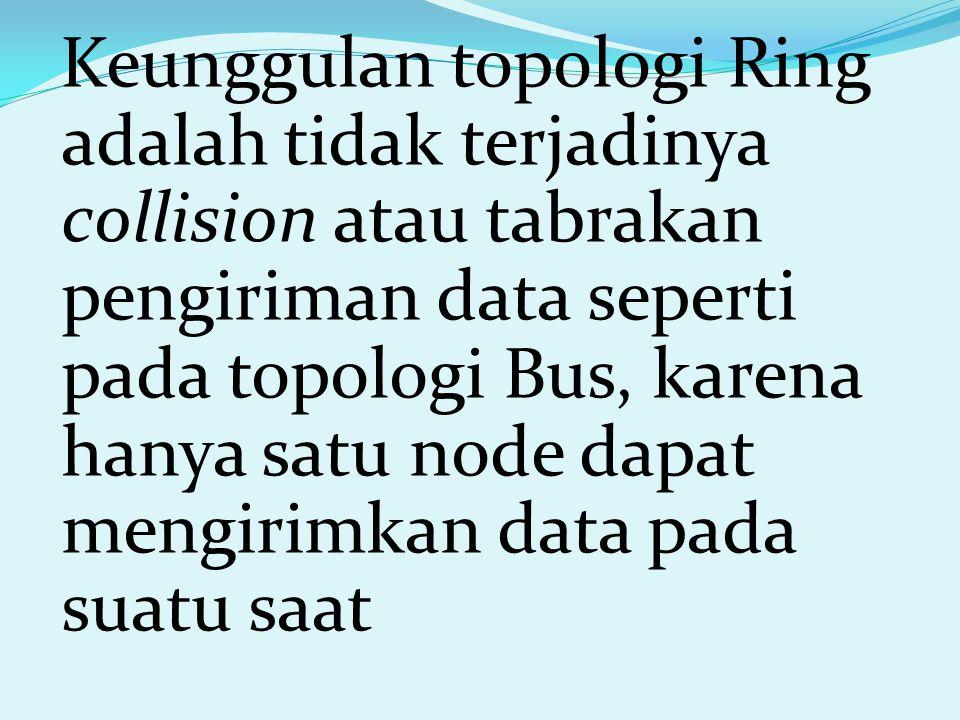 Keunggulan topologi Ring adalah tidak terjadinya collision atau tabrakan pengiriman data seperti pada topologi Bus, karena hanya satu node dapat mengirimkan data pada suatu saat
