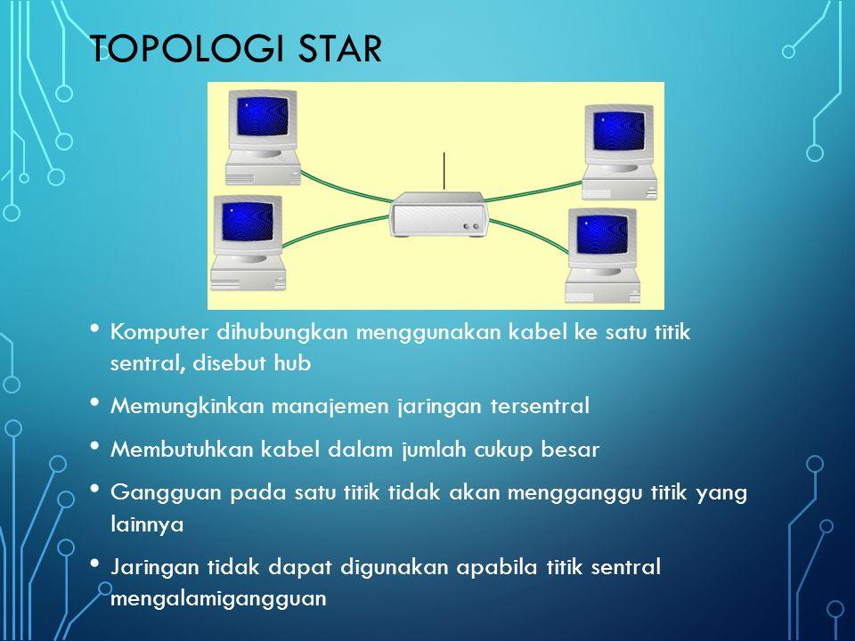 Topologi star Komputer dihubungkan menggunakan kabel ke satu titik sentral, disebut hub. Memungkinkan manajemen jaringan tersentral.