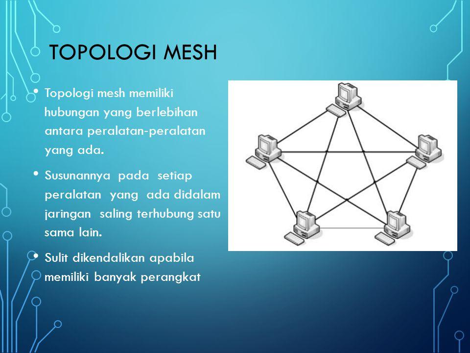 Topologi mesh Topologi mesh memiliki hubungan yang berlebihan antara peralatan‐peralatan yang ada.