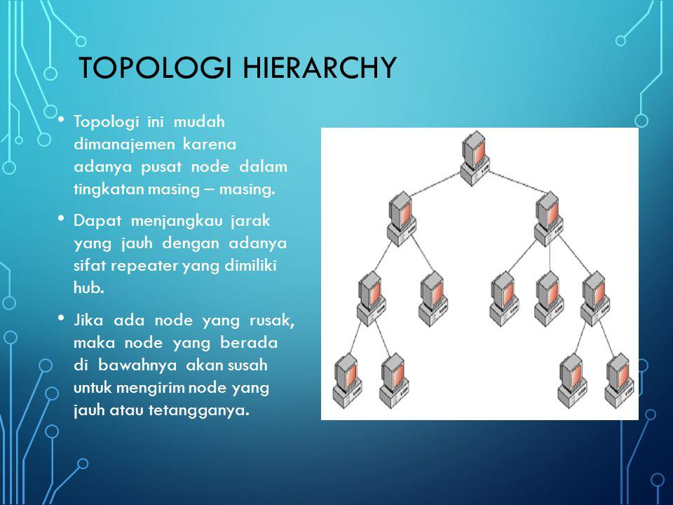 Topologi Hierarchy Topologi ini mudah dimanajemen karena adanya pusat node dalam tingkatan masing – masing.