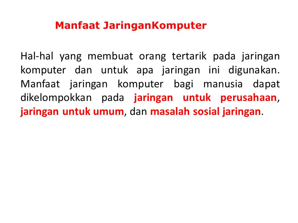 Manfaat JaringanKomputer
