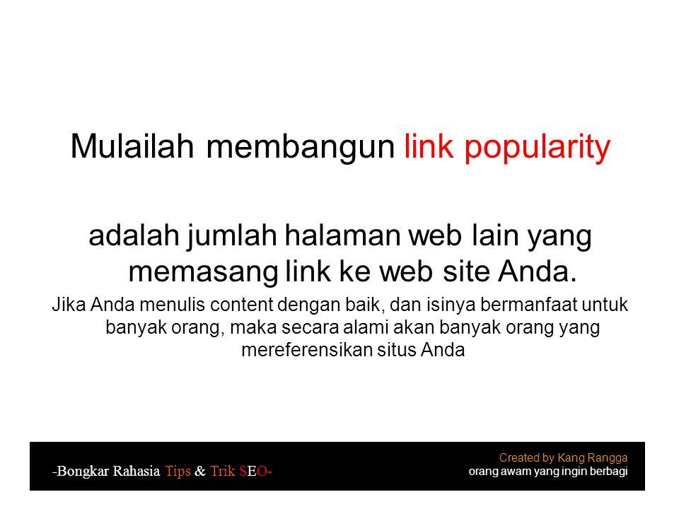 Mulailah membangun link popularity