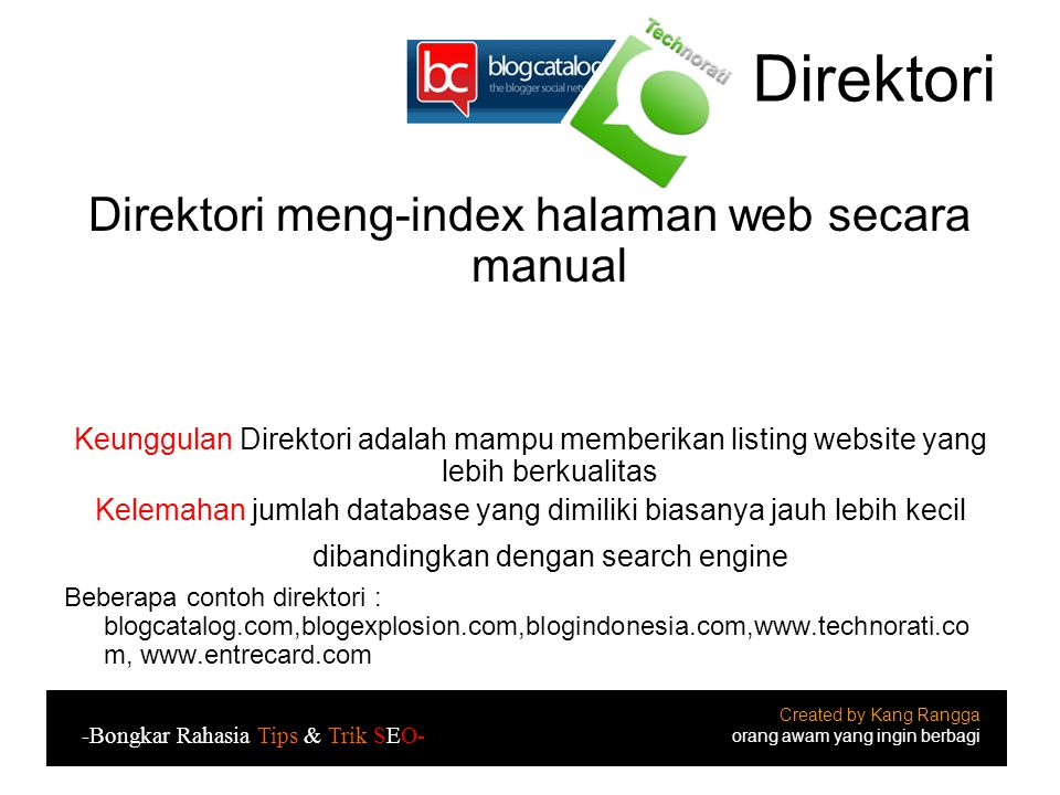 Direktori meng-index halaman web secara manual