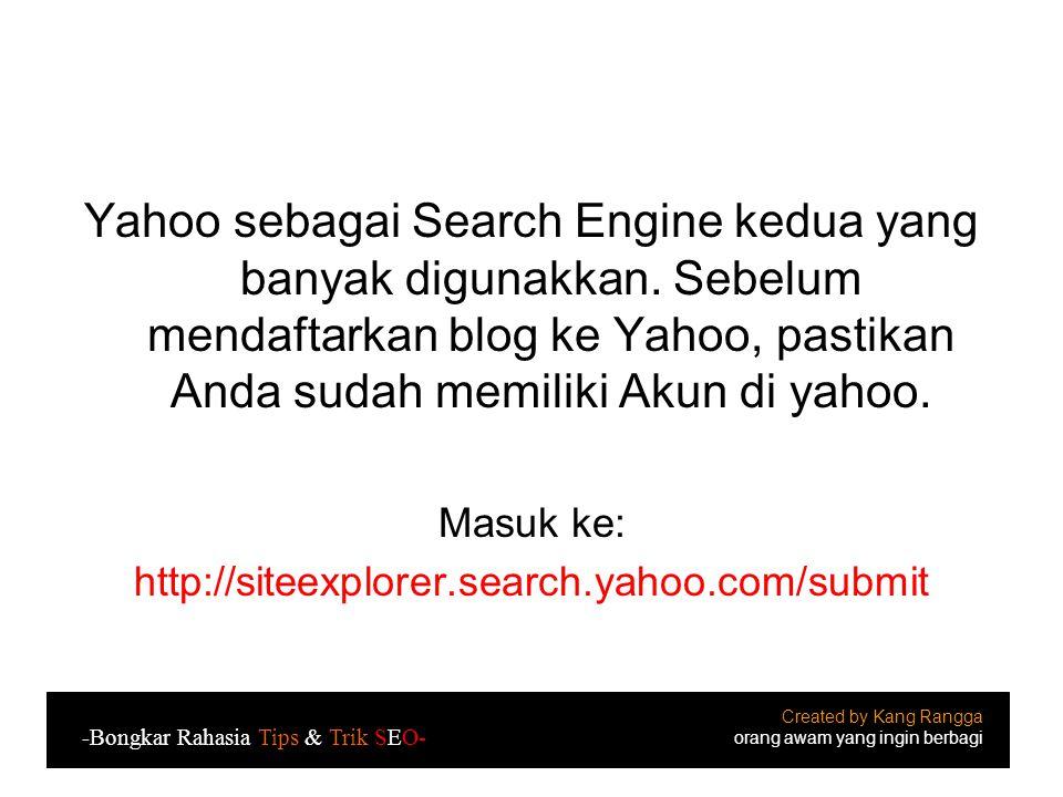 Yahoo sebagai Search Engine kedua yang banyak digunakkan
