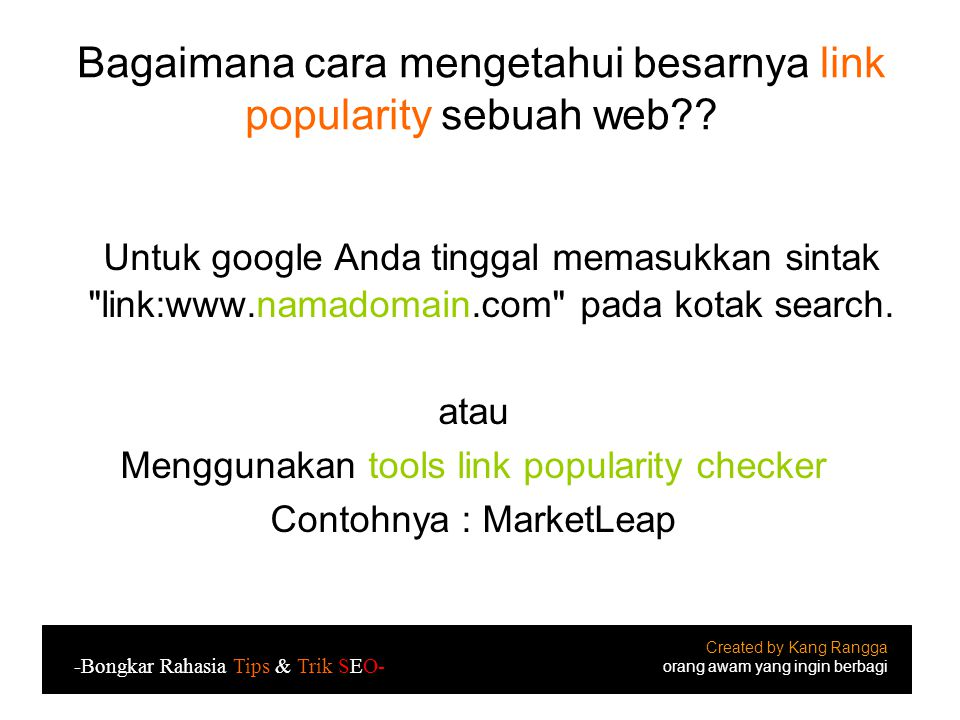 Bagaimana cara mengetahui besarnya link popularity sebuah web