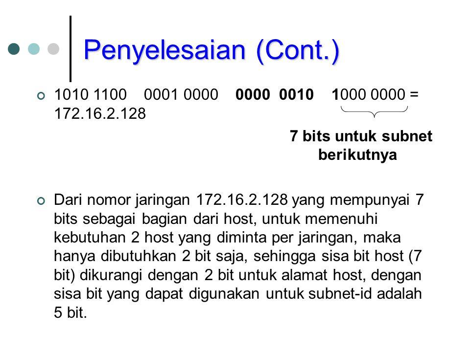 Penyelesaian (Cont.) 1010 1100 0001 0000 0000 0010 1000 0000 = 172.16.2.128. 7 bits untuk subnet berikutnya.