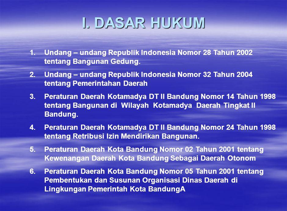 I. DASAR HUKUM 1. Undang – undang Republik Indonesia Nomor 28 Tahun 2002 tentang Bangunan Gedung.