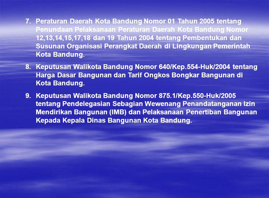 Peraturan Daerah Kota Bandung Nomor 01 Tahun 2005 tentang Penundaan Pelaksanaan Peraturan Daerah Kota Bandung Nomor 12,13,14,15,17,18 dan 19 Tahun 2004 tentang Pembentukan dan Susunan Organisasi Perangkat Daerah di Lingkungan Pemerintah Kota Bandung.