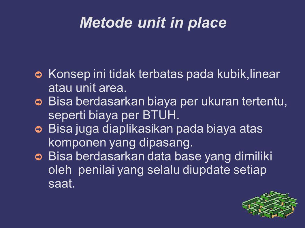 Metode unit in place Konsep ini tidak terbatas pada kubik,linear atau unit area. Bisa berdasarkan biaya per ukuran tertentu, seperti biaya per BTUH.