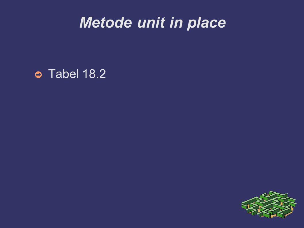 Metode unit in place Tabel 18.2