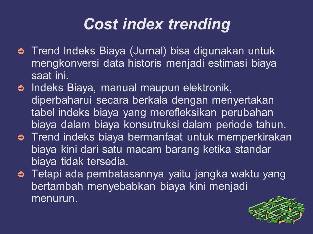 Cost index trending Trend Indeks Biaya (Jurnal) bisa digunakan untuk mengkonversi data historis menjadi estimasi biaya saat ini.