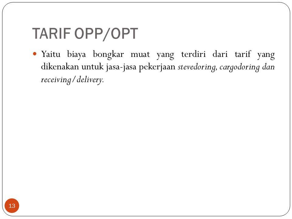TARIF OPP/OPT