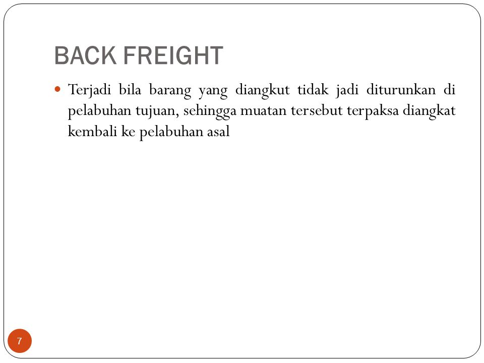 BACK FREIGHT