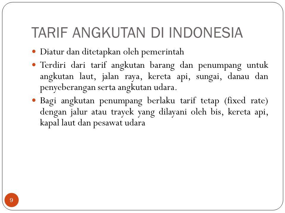 TARIF ANGKUTAN DI INDONESIA