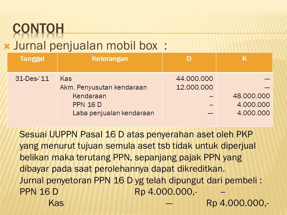 Contoh Jurnal penjualan mobil box :