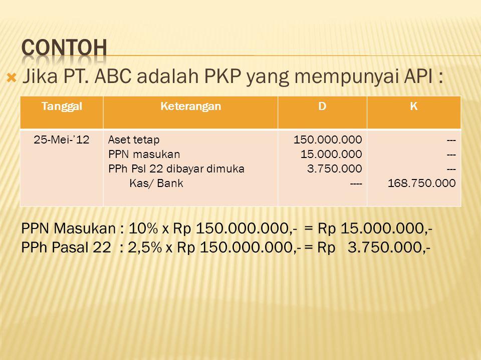 Contoh Jika PT. ABC adalah PKP yang mempunyai API :