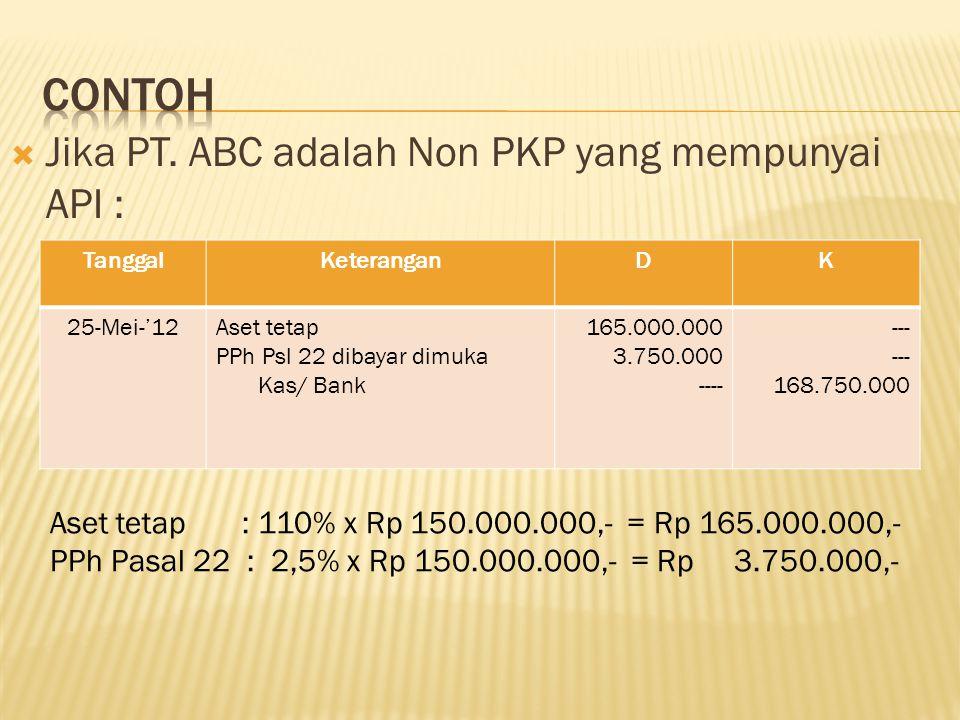 Contoh Jika PT. ABC adalah Non PKP yang mempunyai API :