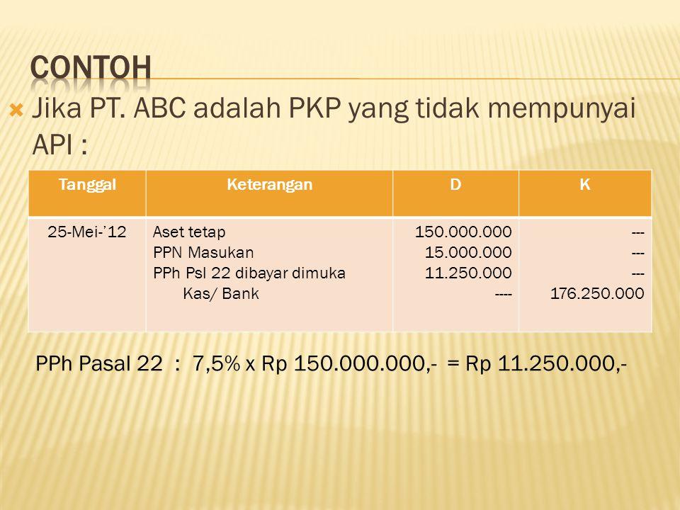 Contoh Jika PT. ABC adalah PKP yang tidak mempunyai API :
