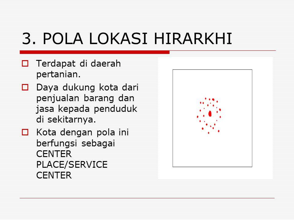 3. POLA LOKASI HIRARKHI Terdapat di daerah pertanian.