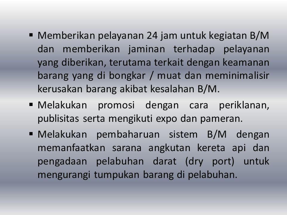 Memberikan pelayanan 24 jam untuk kegiatan B/M dan memberikan jaminan terhadap pelayanan yang diberikan, terutama terkait dengan keamanan barang yang di bongkar / muat dan meminimalisir kerusakan barang akibat kesalahan B/M.