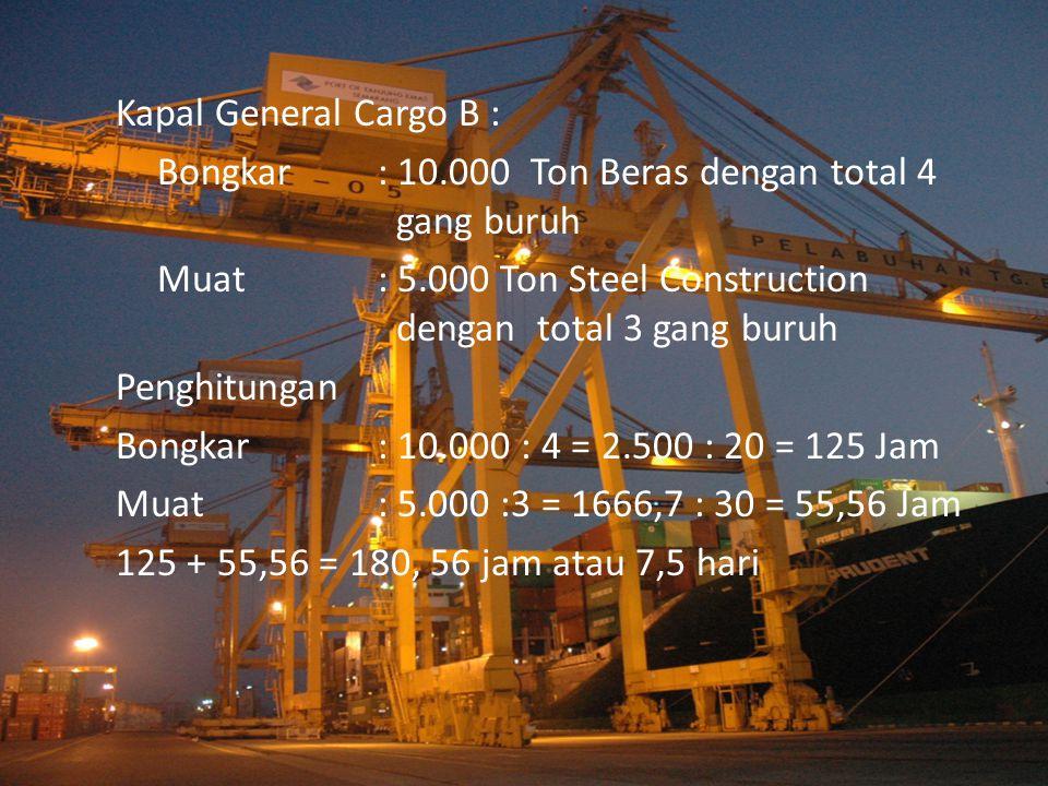 Kapal General Cargo B : Bongkar : 10.000 Ton Beras dengan total 4 gang buruh.