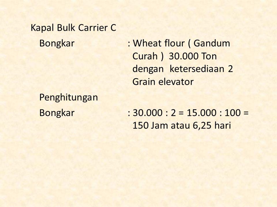 Kapal Bulk Carrier C Bongkar : Wheat flour ( Gandum Curah ) 30.000 Ton dengan ketersediaan 2 Grain elevator.