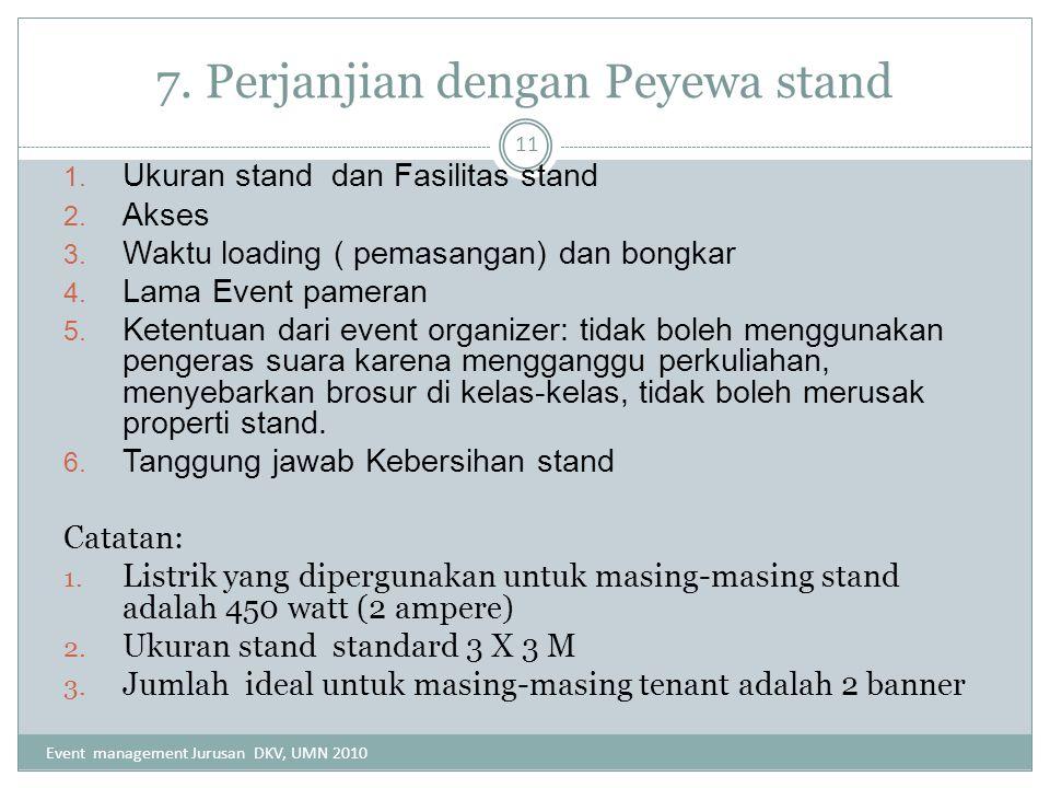 7. Perjanjian dengan Peyewa stand
