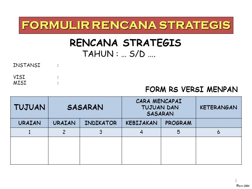 FORMULIR RENCANA STRATEGIS