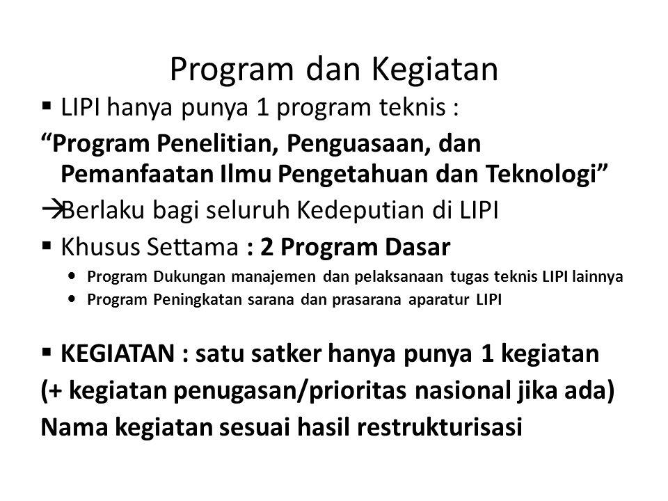 Program dan Kegiatan LIPI hanya punya 1 program teknis :