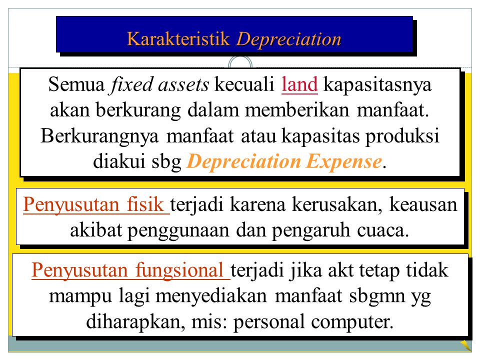Karakteristik Depreciation