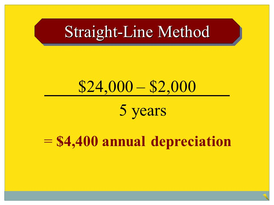 $24,000 – $2,000 Straight-Line Method 5 years