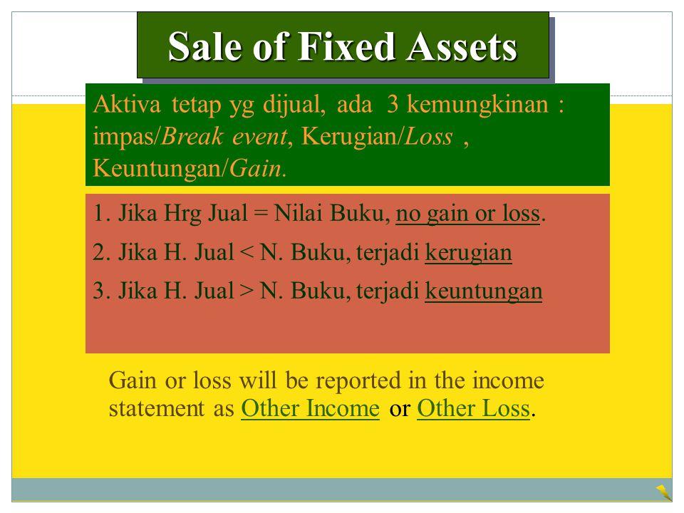 Sale of Fixed Assets Aktiva tetap yg dijual, ada 3 kemungkinan : impas/Break event, Kerugian/Loss , Keuntungan/Gain.