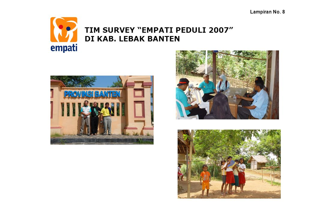 TIM SURVEY EMPATI PEDULI 2007 DI KAB. LEBAK BANTEN