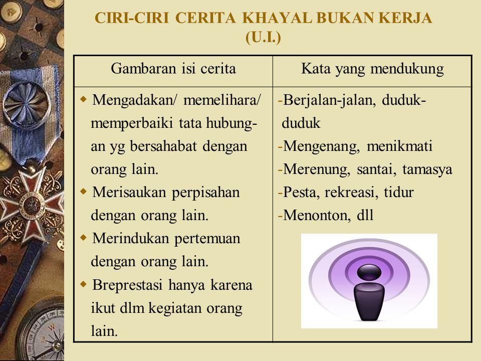 CIRI-CIRI CERITA KHAYAL BUKAN KERJA (U.I.)