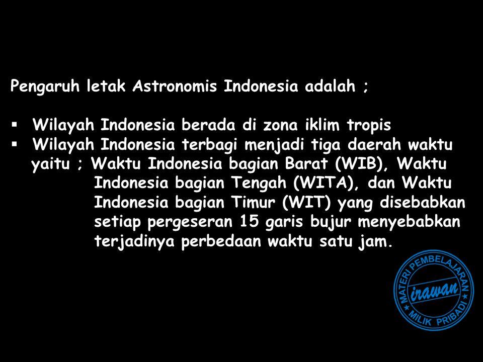 Pengaruh letak Astronomis Indonesia adalah ;
