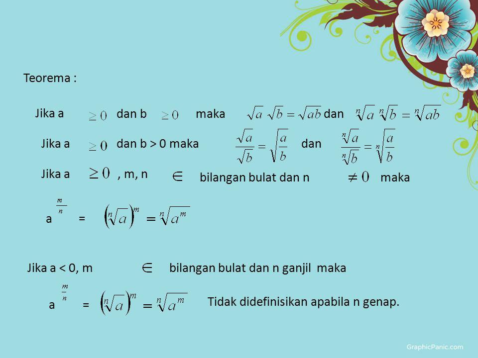 Teorema : Jika a. dan b. maka. dan. dan b > 0 maka. , m, n. bilangan bulat dan n. Jika a < 0, m.