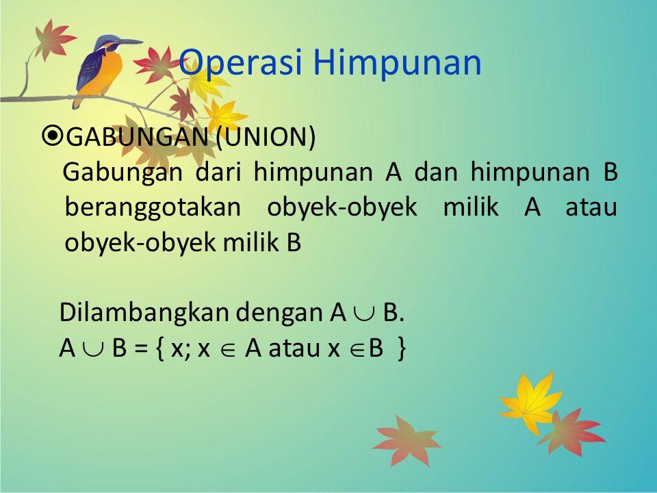 Operasi Himpunan GABUNGAN (UNION)