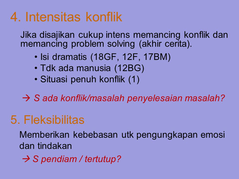 4. Intensitas konflik 5. Fleksibilitas