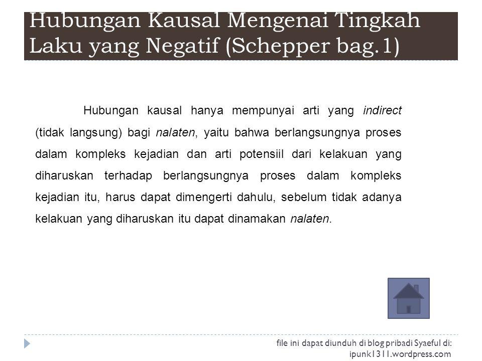 Hubungan Kausal Mengenai Tingkah Laku yang Negatif (Schepper bag.1)