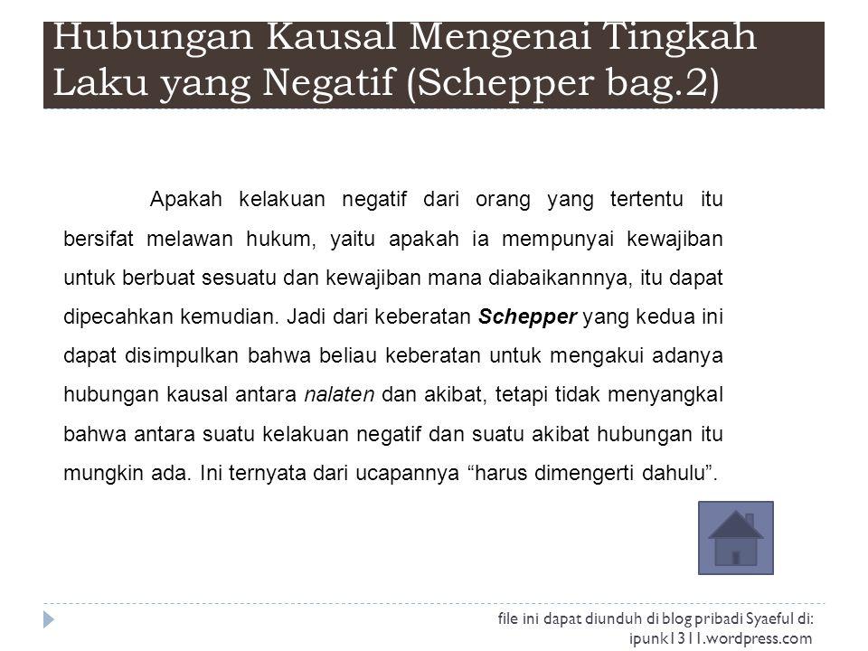 Hubungan Kausal Mengenai Tingkah Laku yang Negatif (Schepper bag.2)