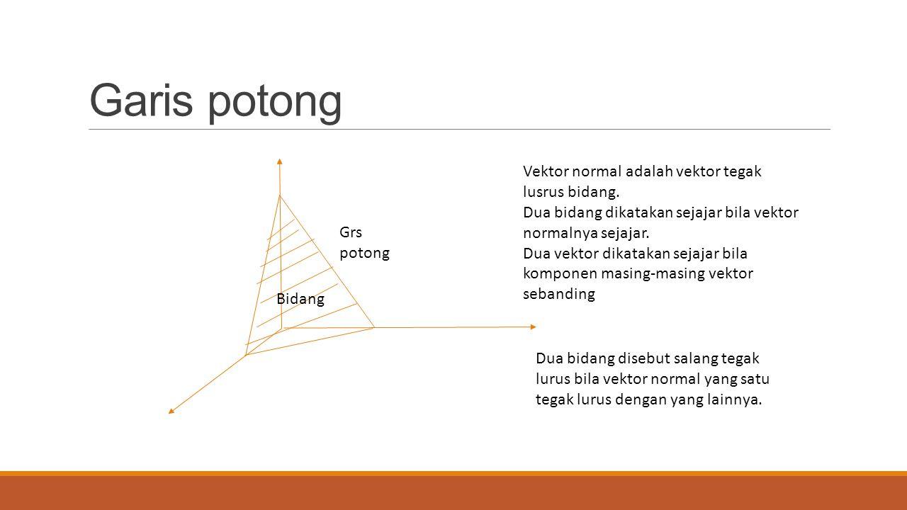 Garis potong Vektor normal adalah vektor tegak lusrus bidang.